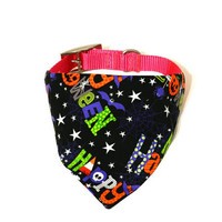 XS/S/M/L Multicolored Black Halloween Print Monogrammed/Personalized/Embroidered Slip On Dog Collar Bandana Pet Accessory for Dog or Puppy