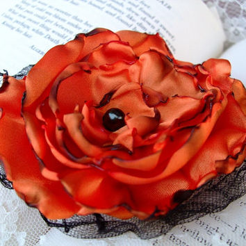 Orange Flower Hair Clip by OurPlaceToNest on Etsy