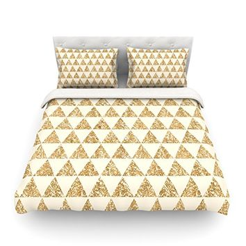 "Kess InHouse Nika Martinez ""Glitter Triangles in Gold"" Tan Yellow Cotton Duvet Cover, 68 by 88-Inch"