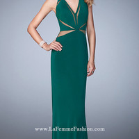 Sheer Cut Out V-Neck Long La Femme Prom Dress
