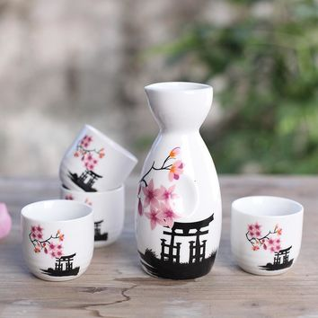 5 Piece Ceramic Hand Painted White & Pink Flower Blossom Japanese Sake Set