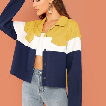 Cut-and-sew Raw Hem Button Up Jacket