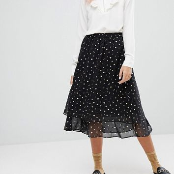 Monki Star And Moon Tiered Midi Skirt at asos.com