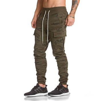 Autumn Winter New Cotton Gyms Zipper Big Packet Embroidery Pants Men Workout Bodybuilding Casual Camouflage Sweatpants