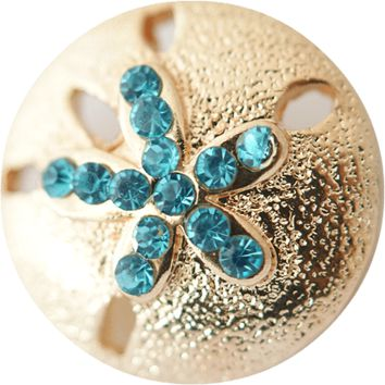 Chunk Snap Charm Gold Tone Sand Dollar 20mm