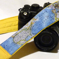 World Map Camera Strap. Canon Nikon Camera Strap. DSLR Camera Strap. Gift For Photographer. For Traveler. Christmas Gifts. Etsy Gifts