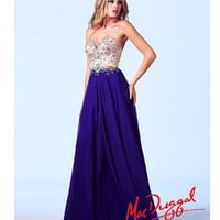 (PRE-ORDER) Mac Duggal 2014 Prom Dresses - Royal Purple & Nude Sequin Embellished Strapless Sweetheart Breakaway Chiffon Gown