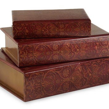 Grand Set of 3 Nesting Wooden Book Boxes