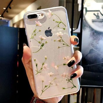 Clear Phone Cases For iPhone X Fashion Real Dried Flower Cases For iphone 6 6S 7 Plus Floral Back Cover For iPhone 8 Plus Fundas