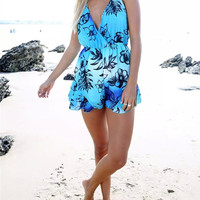 Summer women Jumpsuit short dress sunshine beach dress = 4769393348