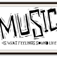 Music Black and White Typography Poster Print