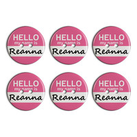 Reanna Hello My Name Is Plastic Resin Button Set of 6