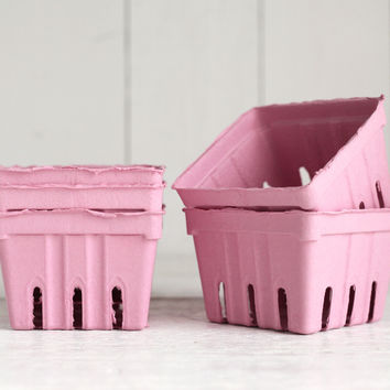 Pink Berry Baskets - 5 Paper Pulp Boxes