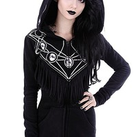 Restyle Gypsy Witch Oversized Hood Moon Phase Gothic Black Hoodie with Fringe