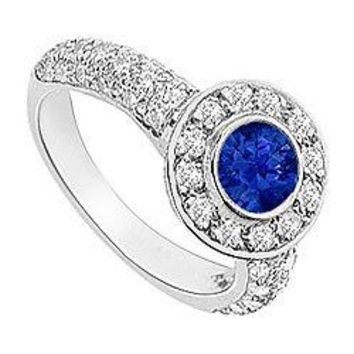 Sapphire and Diamond Halo Engagement Ring 14K White Gold 2.25 CT TGW