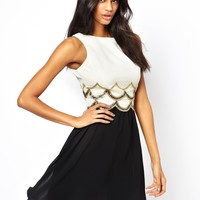 Little Mistress Embellished Scalloped Dress