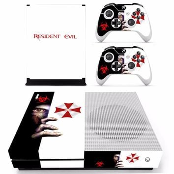 New Skin Sticker Decal For Xbox One S Console and 2 Controllers For Xbox One Slim Skins Sticker - Resident Evil
