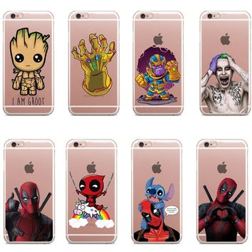 Deadpool and Stitch Suicide Squad Joker Harley Quinn Super Marvel Silicone TPU Phone Case Cover For iphone 7 8 6 6s Plus 5s SE X