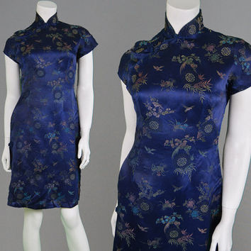 Vintage 50s Wiggle Dress Cheongsam Asian Dress Chinese Dress Dark Blue Oriental Print Floral Brocade Rockabilly Dress Fifties Dress 1950s