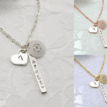 Soccer Ball Personalized Bar Disc Coin Heart Necklace Bracelet Anklet Delicate Hand Stamped Jewelry