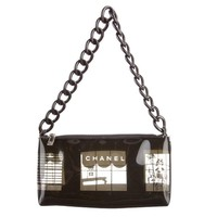 Chanel Early 2000s 'Maison' Window Print Clear Vinyl Handbag with Acrylic Strap