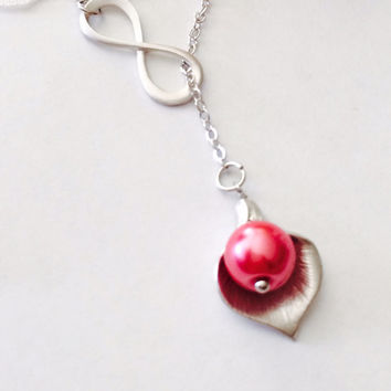 Calla Lily Charm necklace- Flora pendant- Pearl charm necklace