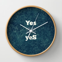 YES 1 Wall Clock by White Print Design