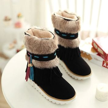flat Heel Black Ankle Women tassel Boots Shoes Beaded Plush Suede Nubuck