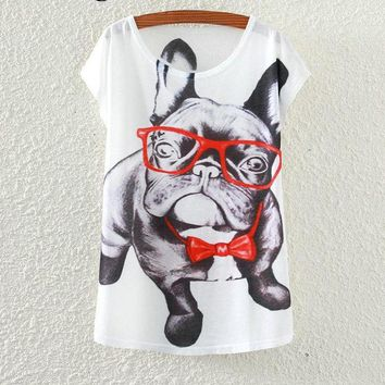 French Bulldog Wearing Glasses And Necktie Dog Flowy Loose T-Shirts