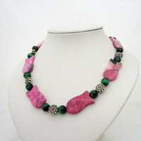 Pink Jasper and Green Tiger's Eye Necklace, Fish Shaped Jasper Necklace, Chunky
