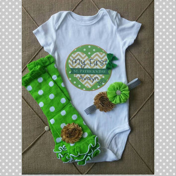 Personalized First St Patricks Day Gold Green Outfit - Baby Girl - Chevron St Patricks - Polka Dot - Headband - Leg Warmers -  Photos
