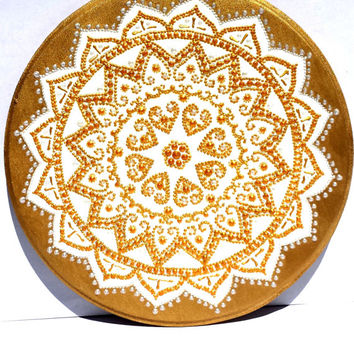 Flower mandala plaque Wooden plaque Mehendi flower Point-to-point painting Bohemian design