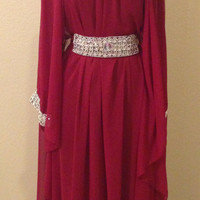 Deep Red Chiffon Beaded Kaftan with Removable Belt