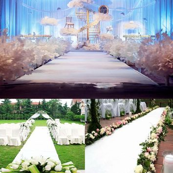 Wedding Aisle Floor Runner White Carpet Hollywood Awards Party Decoration Polyester Floor Rug Runner Party Events Supplies