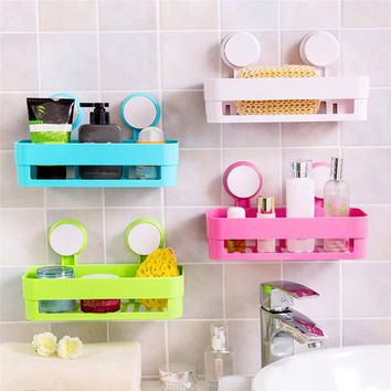 2016 Bathroom Storage Holder Shelf Shower Caddy Tool Organizer Rack Basket Sucker Cup wall mounted 4 colors on sale