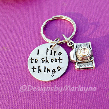 Photography Necklace, I like to shoot things, Camera Charm, Hand Stamped Key Chain, Photographer Gift, Mother's Day Gift, Hobby Jewelry