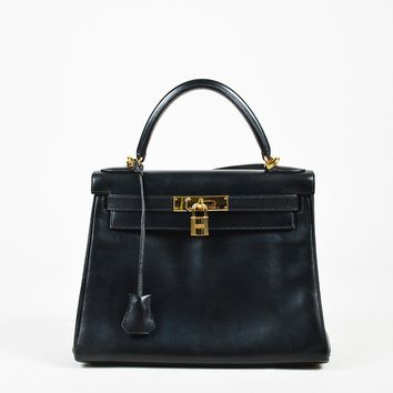 "Hermes Black Box Calf Leather ""Kelly Retourne 28"" Shoulder Bag"