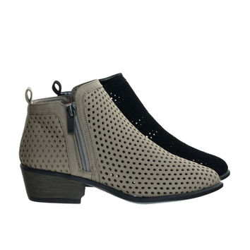 Sadie32 Taupe Beige By Bamboo, Low Stack Block Heel Ankle Booties w Laser Circle Perforated Holes