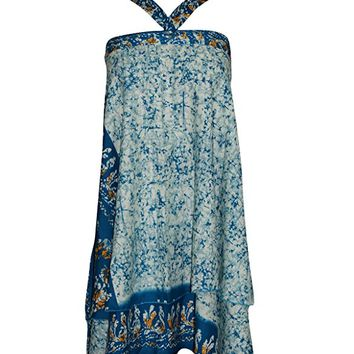 Womens Wrap skirt blue Printed Two Layer Reversible Long Vintage Silk Sari Sarong