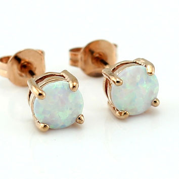 Hot Sale Classical 6MM Round Cut Synthetic Light White Pink Fire Opal Rose Gold Plated Women Stud Earrings Free Shipping