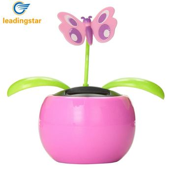 LeadingStar Automobile Decoration Solar Power Automatic Swing Apple Flowerpot Moving Dancing Butterfly Car Toy zk25