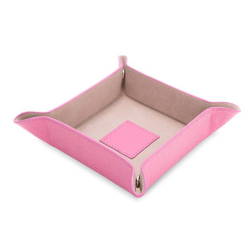 """Pink """"Lizard"""" Leather Snap Valet with Pig Skin Leather Lining"""
