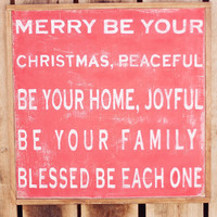 Merry Be Your Christmas Hand Painted Framed by UrbanJaneDesign
