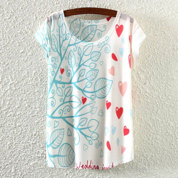 White Short Sleeve Leaf&Heart T-Shirt