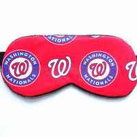 Washington Nationals Sleep Mask, Man Woman Child Kid Toddler, Black Fleece Satin Cotton, MLB Baseball Fan Accessory Gift Eye Shade Blindfold