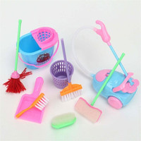 Mini 9Pcs a Set Barbie Doll Cleaning Tools Furniture Home Princess Baby Plush Cleaner Kit Household Model Toys