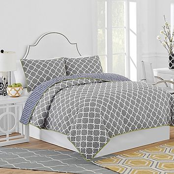 Jill Rosenwald Hampton Links Reversible Quilt in Grey