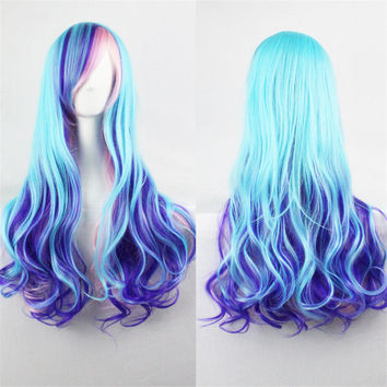 Long Curly Ombre Blue Two Tone Cosplay Wig