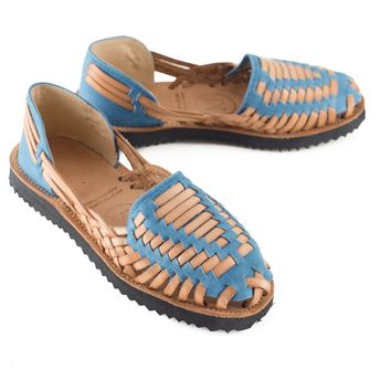 Women's Sky Blue Woven Leather Huarache Sandal