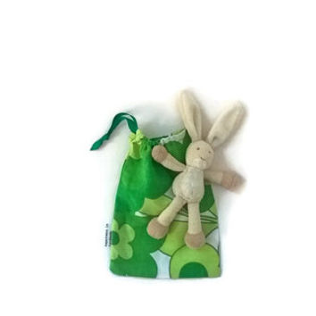 Christmas Gift Bag, Vintage Fabric Bag, Small Drawstring Bag, Green Fabric Bag, Cute Toy Bag, Treat Bag, Product Bag, Marbles Bag, Goody Bag